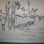 """Severine Gorlier, """"Picnic spot"""", papier découpé, 203 x 350 cm"""