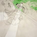 """Severine Gorlier, """"Relation privilégiée"""", série de dessins, encre et aquarelle sur papier, 50 x 65 cm"""